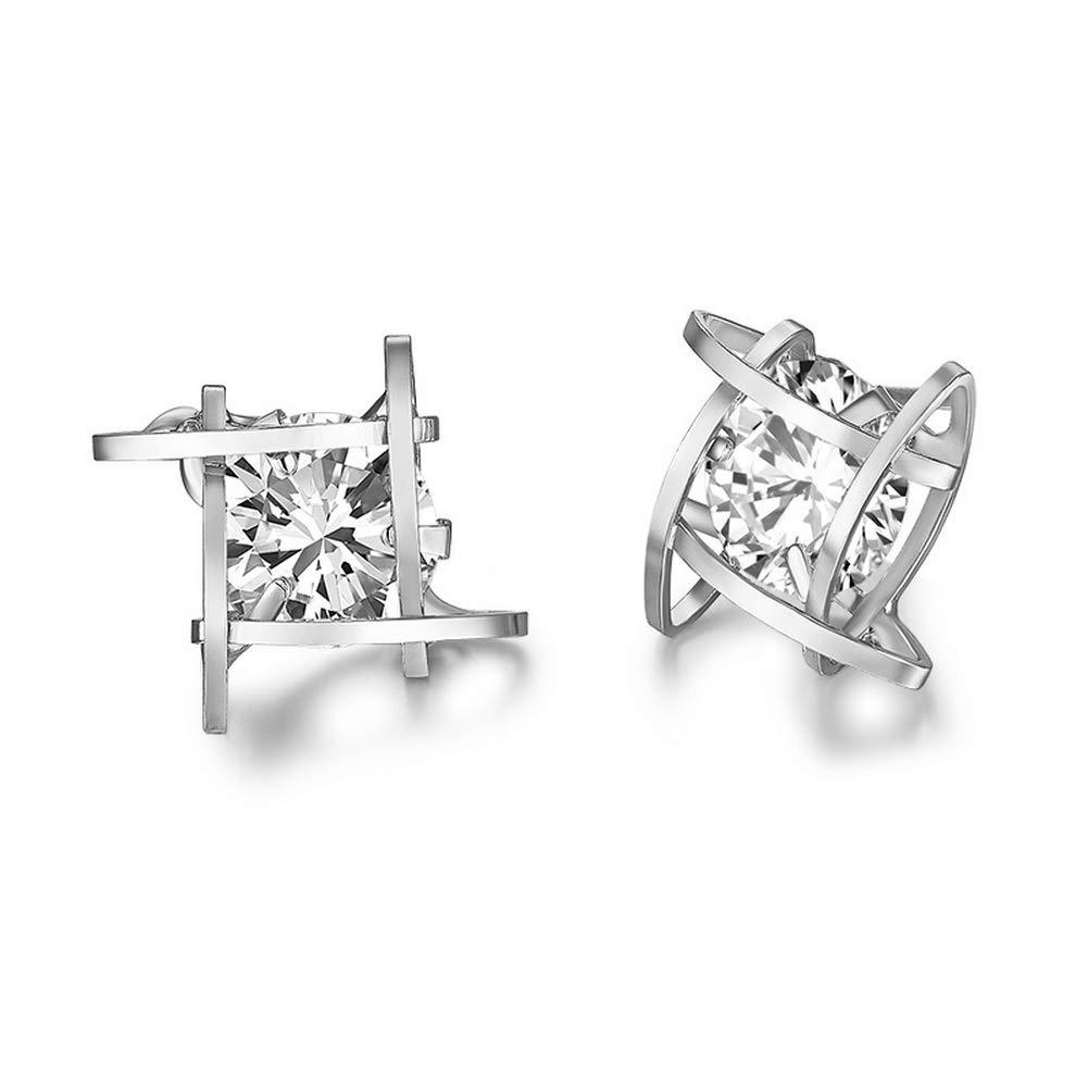 YAZILIND Cubic Zirconia Geometrical Shape Gemstone Stud Earrings Women Birthday Party Jewelry Gift