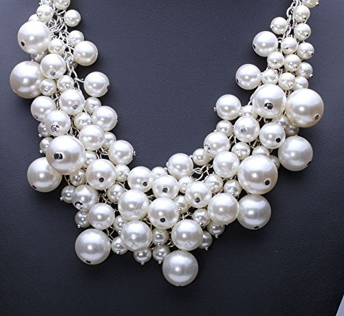 Sunbu Simulated Pearl Necklace Cluster Choker Beads Chain For - Chain Cluster