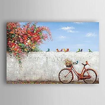 PRO BEROS pintado a mano la pintura al óleo del paisaje de la esquina de la bicicleta con las aves con el marco estirado Arts® 7 de pared: Amazon.es: Hogar