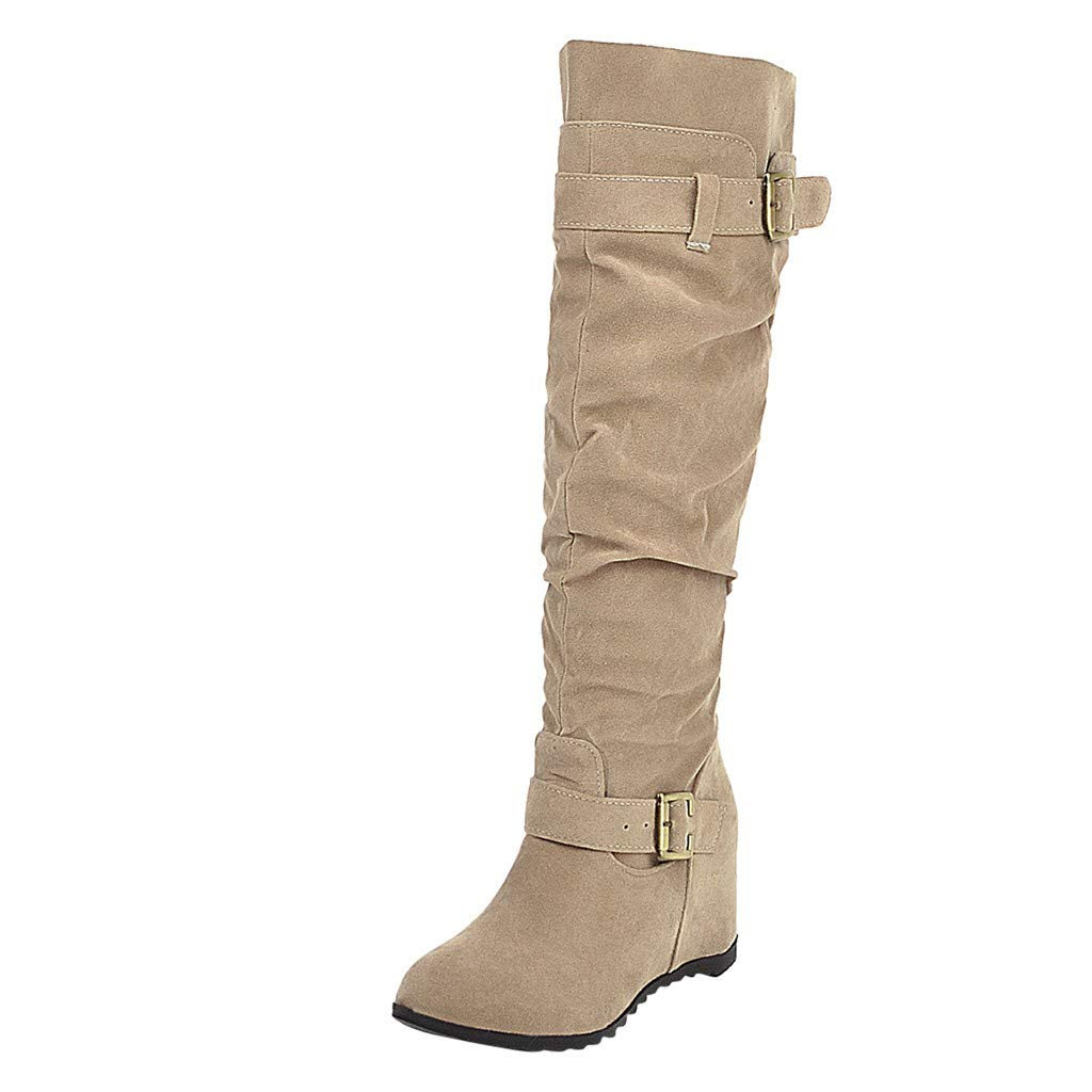 Kauneus Womens Fashion Buckle Strap High Boot Knitting Patchwork Lined Hidden Wedges Mid Calf Ruched Boots by Kauneus Fashion Shoes