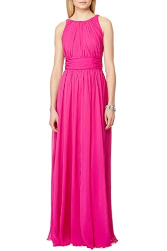 Ssyiz Custom Women's Elegant Pleated Chiffon Floor Length Evening Party Dress