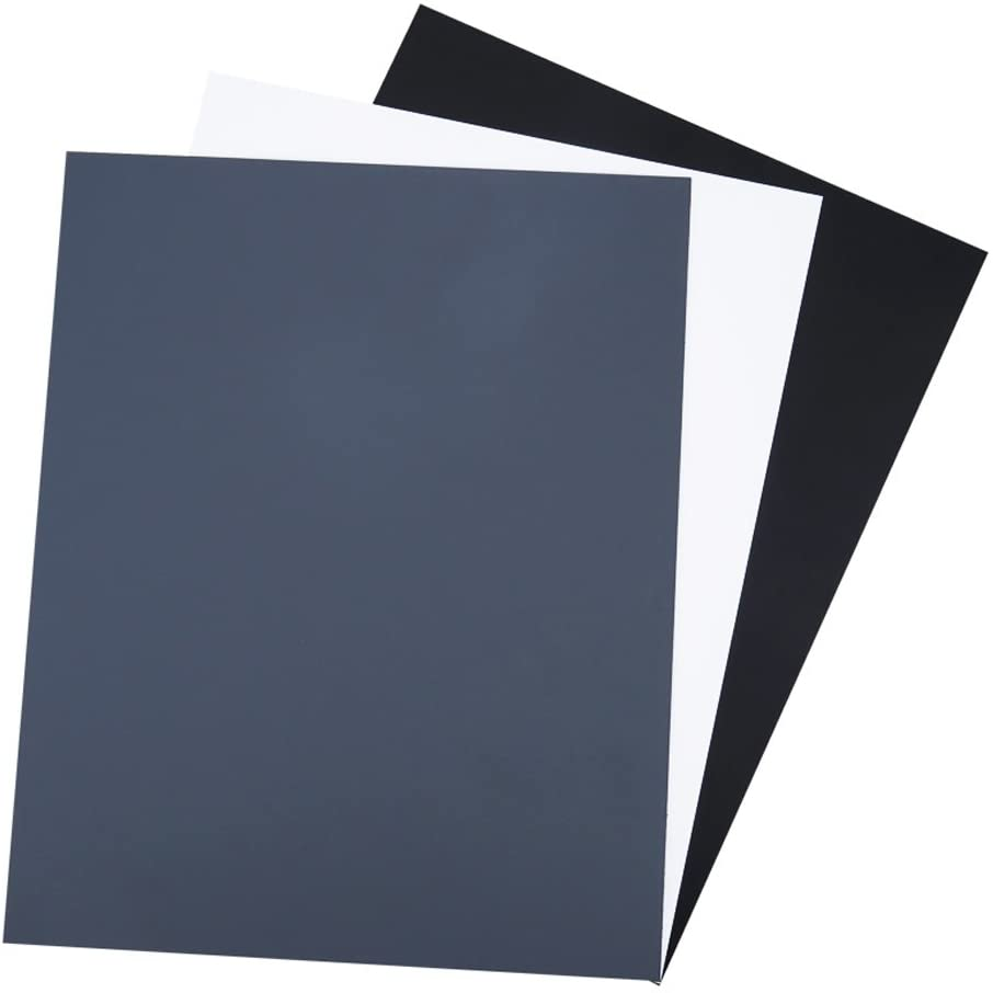 a White Card and a Black Card JJC 10 x 8 PVC White Balance Card Set for Achieving Perfect Color Balance in Your Photos Including an 18/% Neutral Grey Card