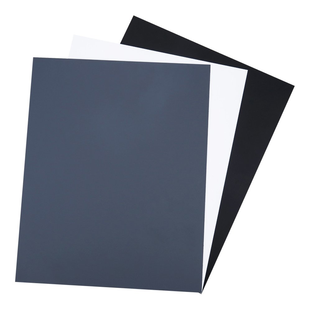 18% Neutral Gray Card JJC White Balance Card for DSLR Digital Camera Video Film 10''x8'' PVC Exposure Photography Card Custom Calibration Camera Checker Card with Gray,White,Black Cards and Storage Bag