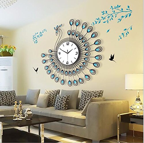 BYLE Wall Clock Quartz Mute Non-Ticking Silent Kitchen Living Room Battery Long Long Time To Peacock Insert Drill Clock Continental Iron Luminous Quartz Wall Home Decor Wall (Quartz Long Drill)