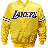 Los Angeles Lakers NBA Men's Starter Satin Full Button Jacket - Yellow (Large)