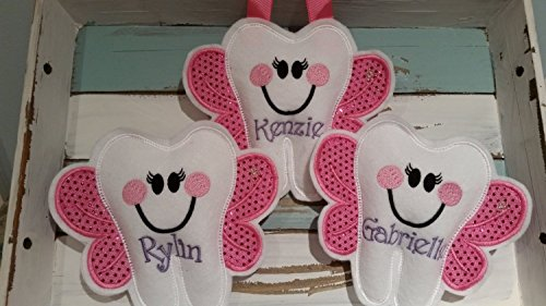 Tooth Fairy Pillow ~ Pink Tooth Fairy Pillow ~ Personalized Tooth Fairy Pillow ~ Girls Tooth Fairy Pillow by Faith N Grace Tooth Fairy Pillows