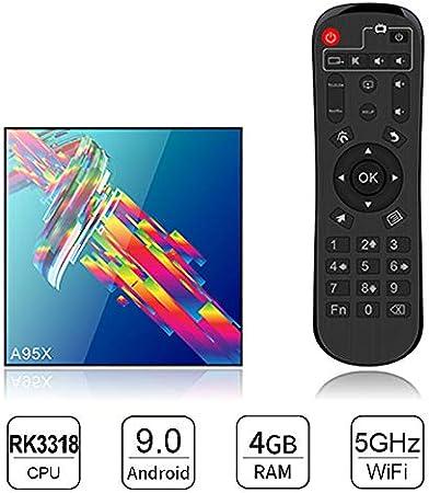 Android 9.0 TV Box, Smart TV Box 4GB RAM 32GB ROM RK3318 Quad Core Soporte Bluetooth 4.0 WiFi 2.4G / 5.8G H.265 4K 3D 100M Ethernet Smart Android Media Player: Amazon.es: Hogar