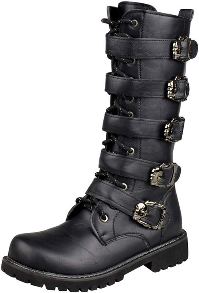 Botas Martin de hombre suaves y cómodas botas altas de cuero casual,Botas negras antideslizantes impermeables al aire libre,Botas de cuero botas de moto de combate botas militares góticas botas de tra