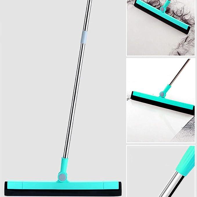 Minzhenamz - 2 piezas de limpiador de suelo con mango de 90 cm, ideal para limpiar madera, vidrio, azulejos, agua, pelo, polvo (verde): Amazon.es: Hogar