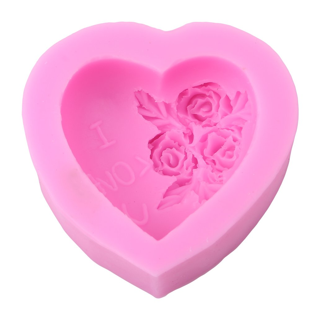 LnLyin Rose Heart Silicone Fondant Sugar Clay Cake Moulds Baking Sculpting & Modeling Mold