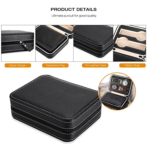 EleLight 4 Grids Watch Storage Display Box, Portable Travel Leather Watch Collector Storage Case for Men & Women as A Gift (Black) by EleLight (Image #2)