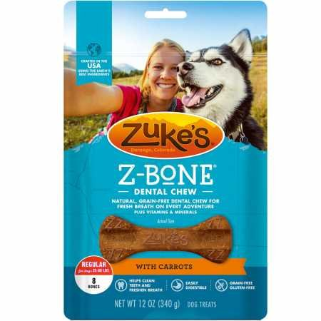 Zuke's Z-Bones Regular Clean Carrot Crisp Dental Dog Treats - 8ct