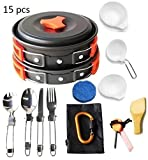 Lightahead® 15 Pcs Camping Cookware Set Mess Kit...