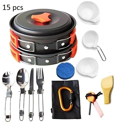 Lightahead 15 Pcs Camping Cookware Set Mess Kit Lightweight Compact & Durable Kit for Camping Hiking & Backpacking Outdoor Cooking ()