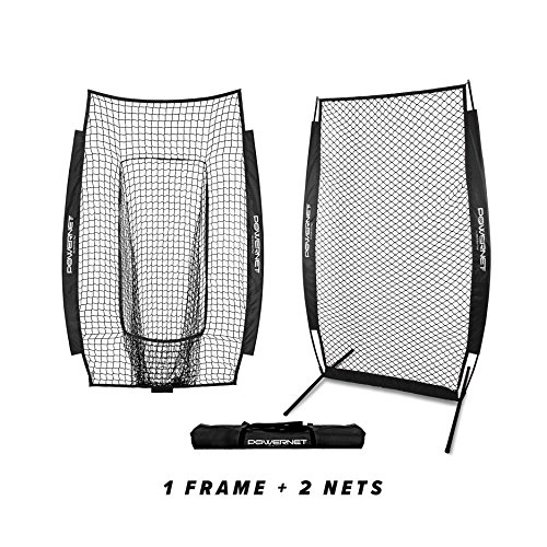 PowerNet I-Screen w/ Frame + Infielder Net Bundle (Black)