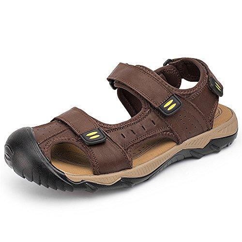 pelle Sandali da 42 Dark Light antiscivolo EU notte Size Color assorbenti Brown Sandali regolabili pelle traspiranti sandali sudore in in Qingqing chiusi spiaggia brown Sandali in da da uomo uomo 8Ffgdaq