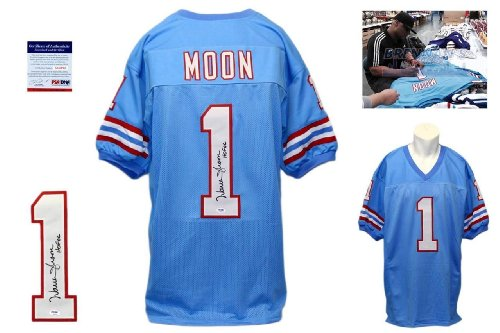 Warren Moon Signed Custom Jersey - PSA/DNA - Autographed w/ Photo - Powder Blue