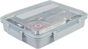 Portable Lunch Box Portable 304 Dinner Plate Sealed 5 Grid Steel-plastic Lunch Box with Soup Bowl Stainless Steel Student Fast Food Box Student Lunch Box (Color : Blue, Size : 30X24.5X7CM)