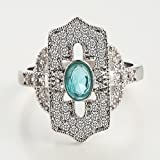 Fashion Women Jewelry 925 Silver Aquamarine Topaz Wedding Ring Size 6-10 (6)