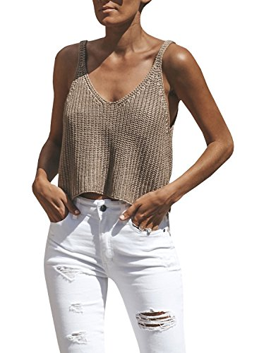 Ivay Women's Sleeveless Sweater Crop Top Solid Spaghetti Strap Knitted Tank by Ivay (Image #6)