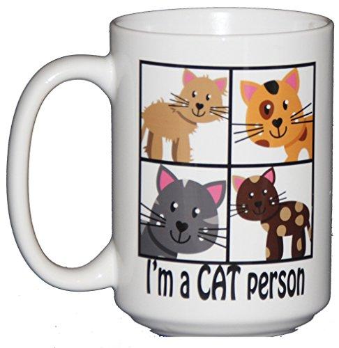 15oz I'm a CAT Person Funny Coffee Mug for Feline Lovers Coffee Striped Art Glass