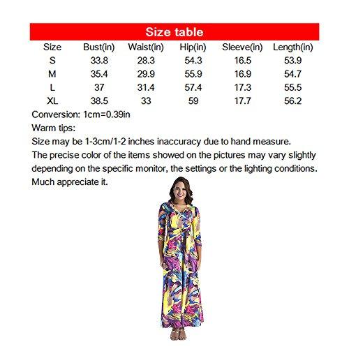 Maxi Amme Ceinture Longue Robes Imprimé Floral Sexy Femmes Numériques Chaud Violet