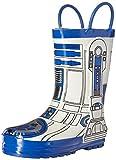 Image of Western Chief Kids' Boys' Waterproof Easy-on Character Rain Pull-on Boot, Star Wars R2D2, 3 M US Little Kid