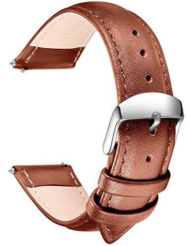 Quick Release Leather Watch Band, SONGDU Full Grain Genuine Leather Replacement Watch Strap with Stainless Metal Buckle Clasp 16mm, 18mm, 20mm, 22mm, 24mm (20mm, Light Brown)