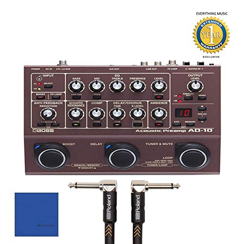 BOSS AD-10 Acoustic Guitar Pedal with 2 Roland 6 inch 1/4 cable Bundle includes Free Wireless Earbuds - Stereo Bluetooth In-ear and 1 Year Everything Music Extended Warranty (Vox Tonelab Ex Guitar Multi Effects Pedal)