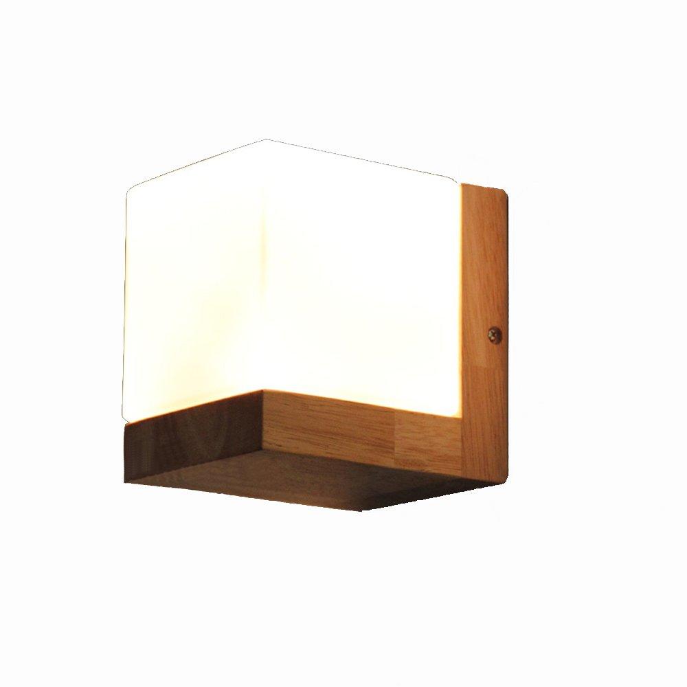 Ganeep Oak Square Zucchero applique da parete Personalità Creativo American Wall Lanterna Camera da letto Testiera Illuminazione Cafe Faretti a parete Simple Restaurant Aisle Bar Lampada da parete Bianco Glass Shade