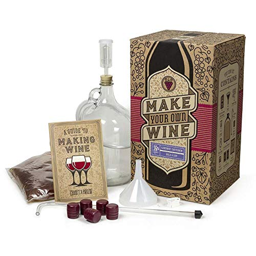 Craft A Brew Cabernet Sauvignon Making Home Kit - Easy Brew Beginners with Ingredients and Supplies - Ultimate Wine Brewer Experience, Clear