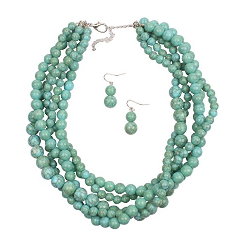 KOSMOS-LI Women's i Multi-Strand Acrylic Beads Statement Necklace and Earrings Set
