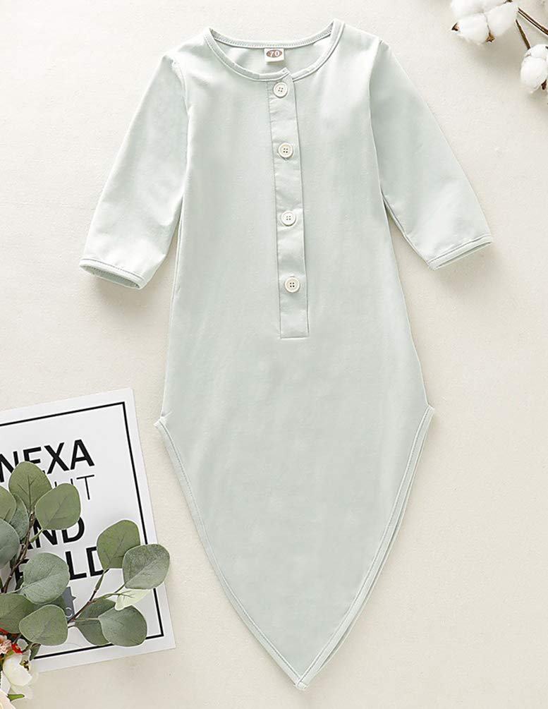 0-6M, Light Green COLOOM Baby Gown Newborn Knotted Nightgowns Infant Sleeper Cotton Sleeping Bags for Baby Girl and Boy