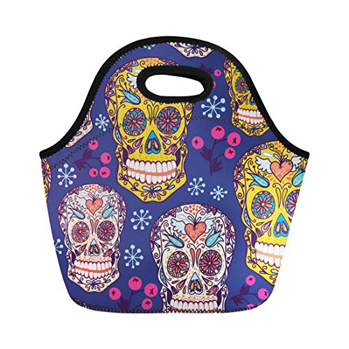 Semtomn Lunch Bags Pink Calavera Blue Bright Floral Skulls Colorful Spooky Purple Neoprene Lunch Bag Lunchbox Tote Bag Portable Picnic Bag Cooler Bag