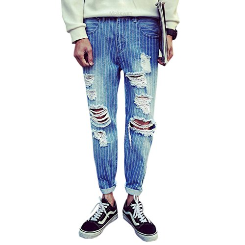 Mokewen-Mens-Stripe-Knee-Broken-Destroyed-Hole-Cropped-Jeans