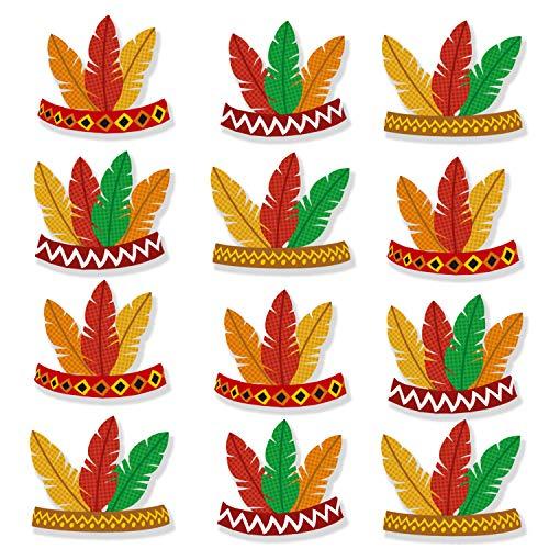 12PCS Thanksgiving Decorations Headband DIY Fall Leaves Tiaras