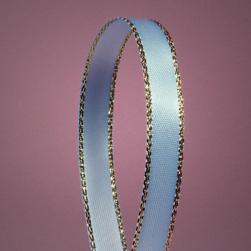 "Light Blue Satin Ribbon with Gold Edges, 3/8"" X 50Yd"