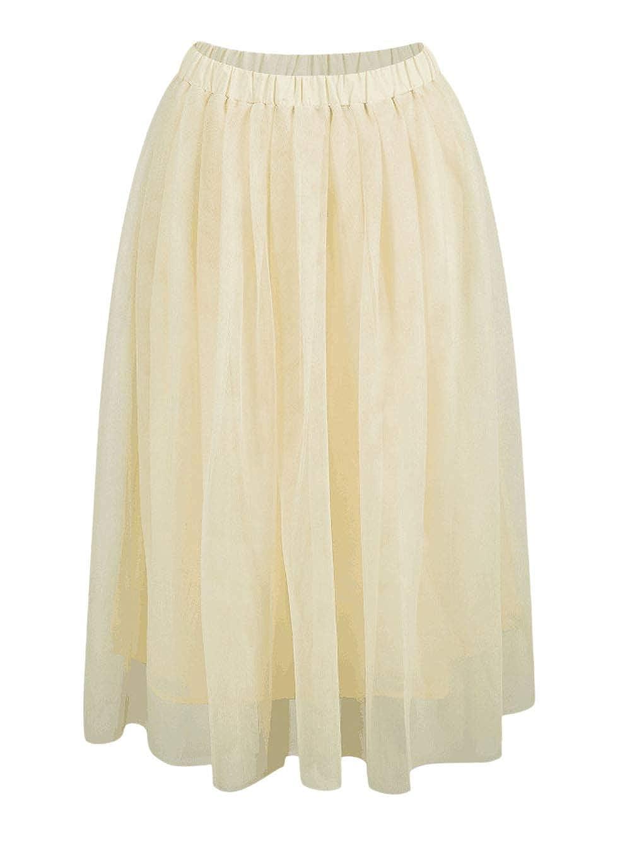 Falda Tul Mujer Verano Vintage Colores Sólidos A-Línea Faldas ...