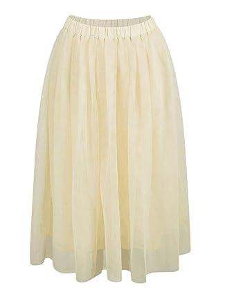 Falda Tul Mujer Verano Moda Joven Vintage Colores Sólidos A-Línea ...