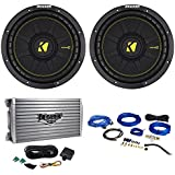 (2) Kicker 44CWCD104 CompC 10 1000W 4-Ohm DVC Car Subwoofers+Amplifier+Wire Kit