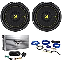 (2) Kicker 44CWCD104 CompC 10 1200W 4-Ohm DVC Car Subwoofers+Amplifier+Wire Kit