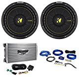 (2) Kicker 44CWCD104 CompC 10' 1000W 4-Ohm DVC Car Subwoofers+Amplifier+Wire Kit