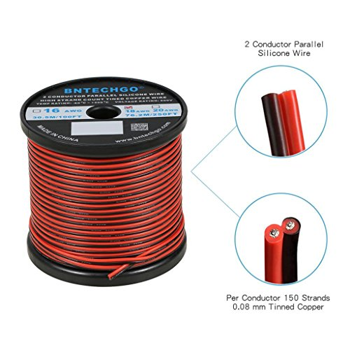 BNTECHGO 18 Gauge Flexible 2 Conductor Parallel Silicone Wire Spool Red Black High Resistant 200 deg C 600V for Single Color LED Strip Extension Cable Cord,Model,Lead Wire 250ft Stranded Copper Wire 18 Gauge Stranded Single Conductor