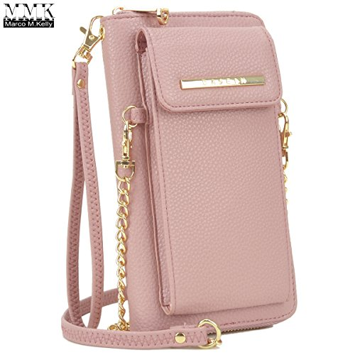 MMK collection Crossbody Bag ~Messenger Purse(2830)~ Crossbody Bag for Women~multiple pocket Messenger handbag. (MA-XL-19-3020-PINK)