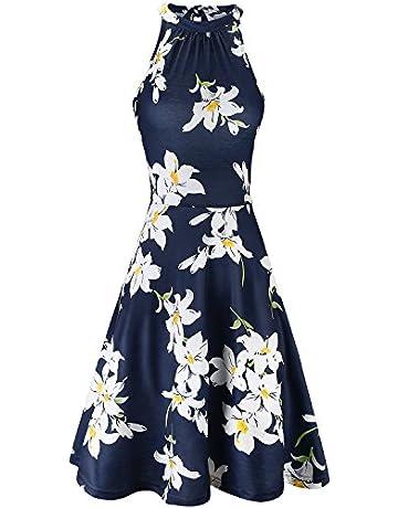 9a101e6552060 OUGES Women's Halter Neck Floral Summer Casual Sundress