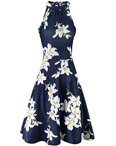 OUGES Women's Halter Neck Floral Summer Casual Sundress(Floral-07,L)
