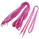 5 Pairs 1cm Width Flat Shoestrings Shoelaces Dark Pink for Men Women