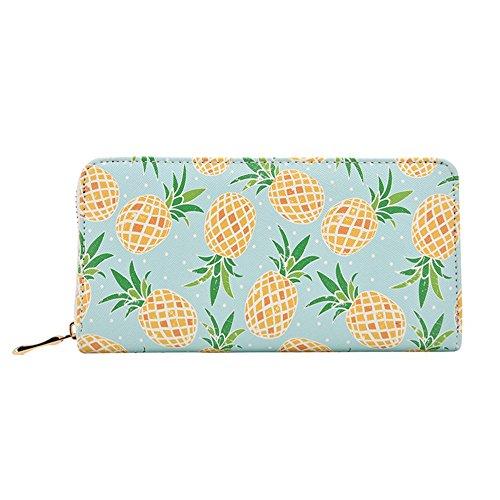 - Kukoo Women Leather Long Zipper Wallet Pineapple Print Designer Clutch Purse Credit Card Holder