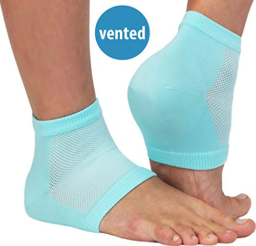 NatraCure Vented Moisturizing Gel Heel Sleeves - 2 Pairs - (608-M RET2PK) - Size: Regular
