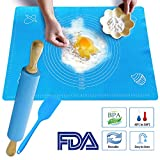 Silicon Baking Mat Set of 3 - One Rolling Pin, Extra Large 25''×17.7'